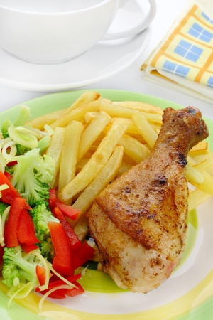 baked beans: Fried chicken leg with french fries