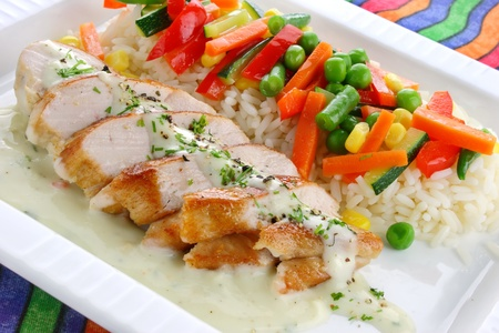 Chicken breast with rice and vegetables  Stock Photo