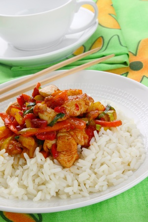 Chicken with rice and vegetables  Stock Photo