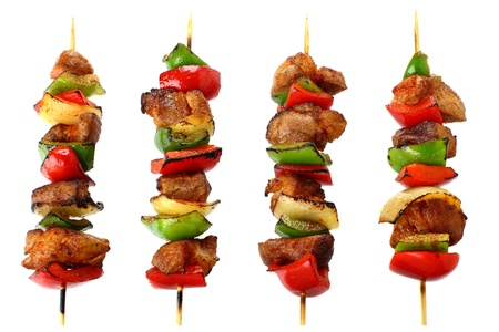 shish: Fried skewers isolated on a white background