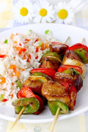 Fried skewers with rice