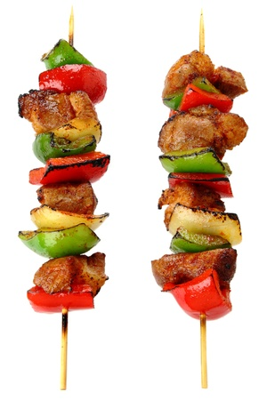 Fried skewers isolated on a white background