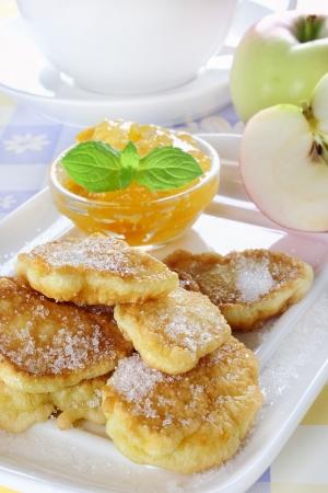Apple fried in pancake batter,jam and fresh raw apple