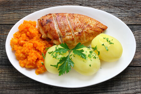 Fried chicken breast with potatoes and carrots