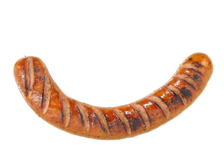 Salchicha frita en el fondo blanco Foto de archivo
