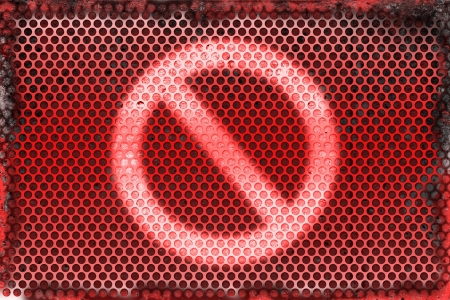 disallow: Burned metal abstract background of prohibit shape symbol  Stock Photo