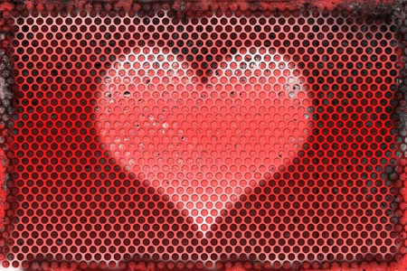 feel good: Burned metal abstract background of heart shape symbol