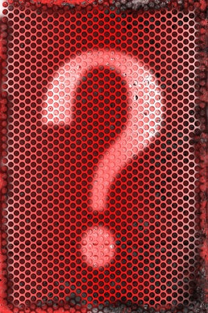 Burned metal abstract background of question mark symbol  photo