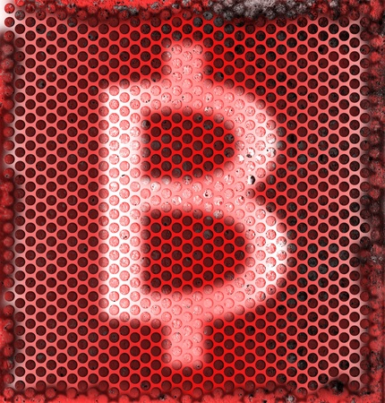 barter: Burned Metal Abstract Background of Thai Currency Symbol Baht  Stock Photo