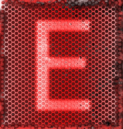 e alphabet: Burned metal abstract background of E