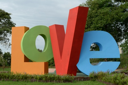 simbols: Love sculpture in the public garden at Chiang Rai Rajabhat University Thailand