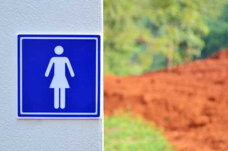 contruction: Woman restroom sign near the contruction site at Mae Fah Luang University ChiangRai of Thailand  Stock Photo
