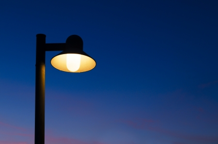 halogen lighting: Street lamp with twilight background