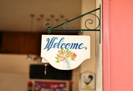 welcome door: Vintage welcome sign at restaurant  Stock Photo