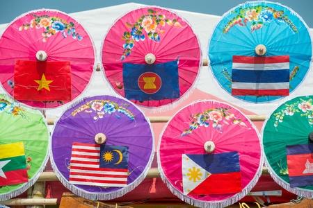 vietnam flag: Colorful Umbrellas with Asian Flag  Stock Photo