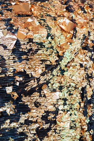 lambent: Texture of golden plate on the buddha statue woven from bamboo  Stock Photo