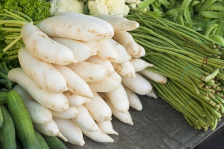 Daikon radishes and vegetables  Stok Fotoğraf