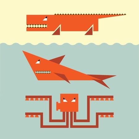 dangerous: Vector set of dangerous wildlife  Illustration