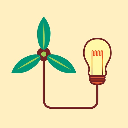 Green turbine and bulb, green idea concept Vector