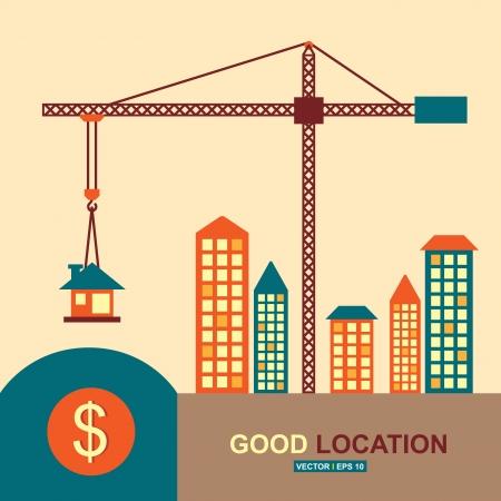 construction crane: Good location, idea concept Illustration
