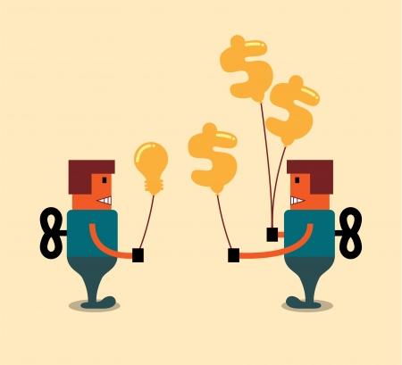 Robot sell an idea, business concept