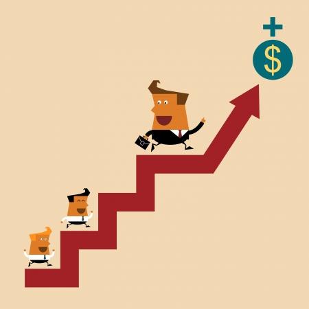 Business leader and teamwork go together, Illustration