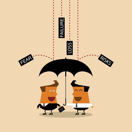 Businessman with umbrella protects by partnership, Illustration