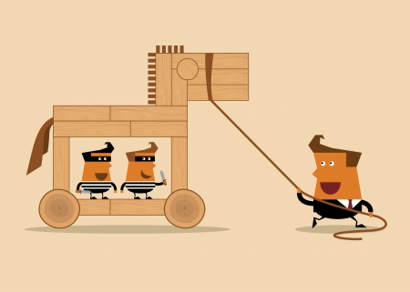 caballo caricatura: hombre de negocios con el caballo y los ladrones de madera, idea de negocio