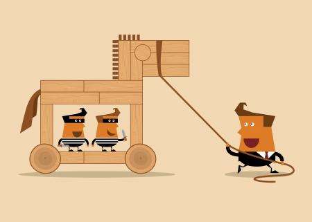 cavallo di troia: uomo d'affari con il cavallo ed i ladri di legno, idea di business