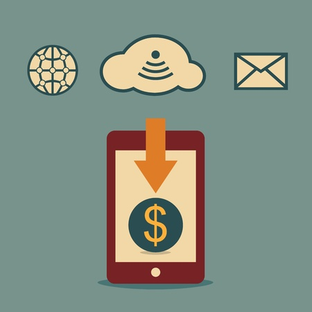 money online: Earn money online with smartphone, business idea Illustration