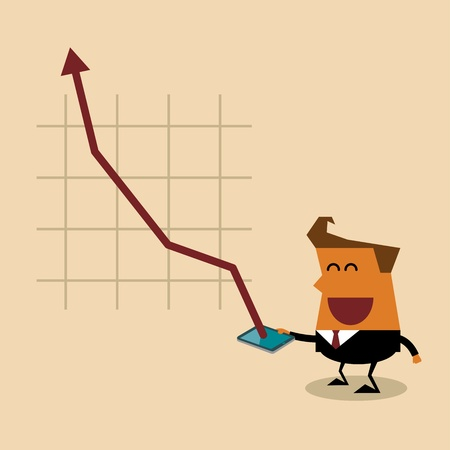 Businessman holding mobile smart phone with success growth chart on screen Stock Vector - 22010922