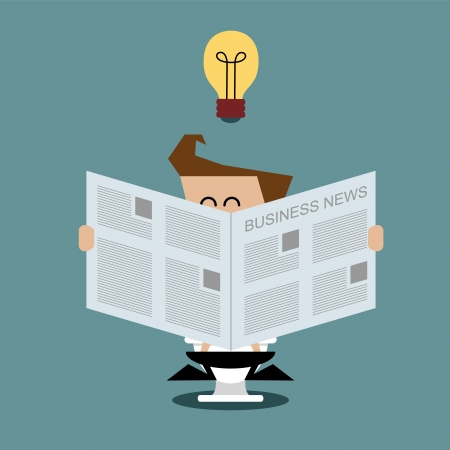 toilet paper art: Businessman sitting on toilet and reading newspaper, Business concept Illustration