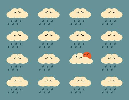 sad love: Happy cloud and the sun with sad clouds