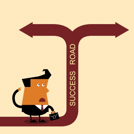Confused Businessman, Standing at the crossroad Ilustracja