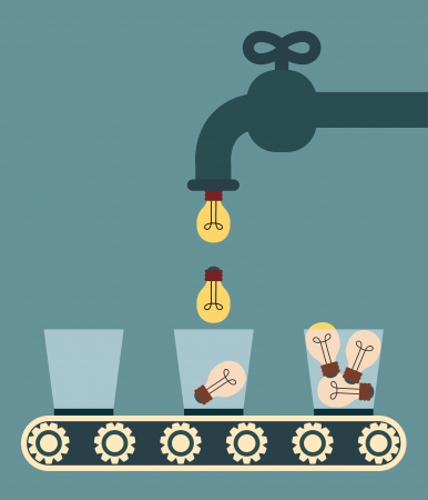 Faucet pouring the light bulb into glass, Illustration