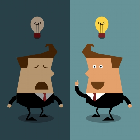 Businessman have no idea with businessman get idea, Businessman concept Vector