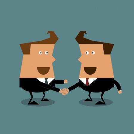 Businessmen shaking hands cartoon illustration, Businessman concept