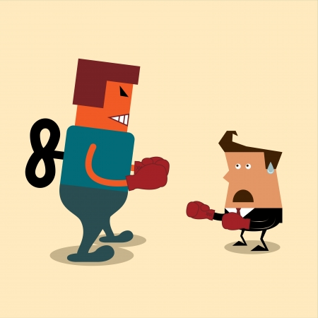 afraid man: Businessman and robot having a fight with boxing gloves