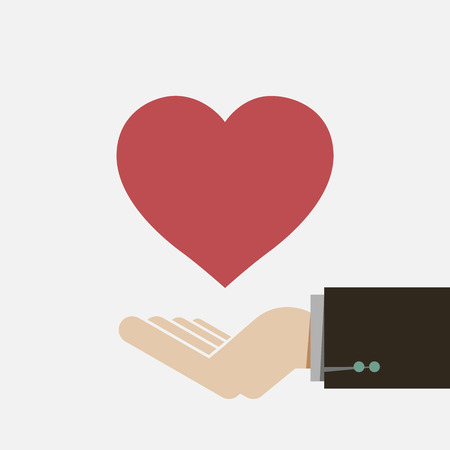 give hand: Red heart on hand Illustration