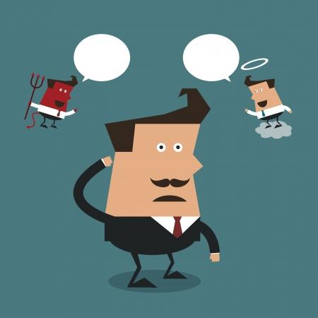 estereotipo: Hombre de negocios con el mal y el �ngel