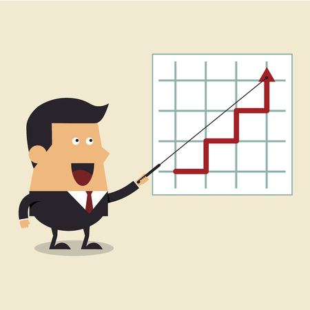 Businessman points to chart of profit, Business concept Vector