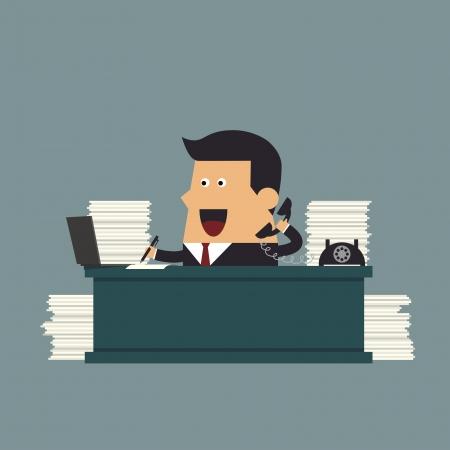 hard worker: Giovane uomo d'affari che lavora sodo in ufficio, concetto di Business Vettoriali