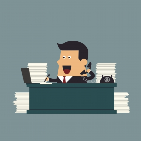 Young businessman working hard at the office, Business concept Stock Vector - 22273692