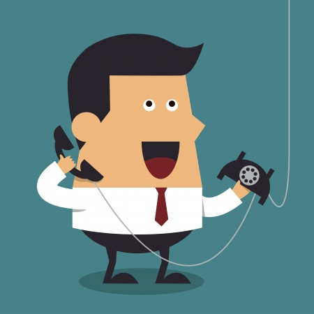 Young businessman talking on phone, Business concept Vector