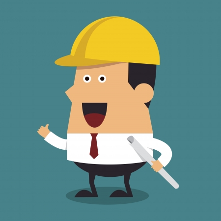 Young construction worker wearing helmet and holding blueprint  Vector