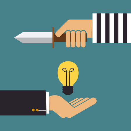 bad idea: Stealing idea, Business concept Illustration