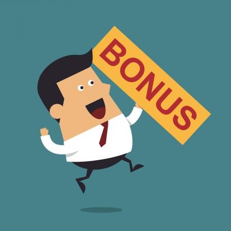 ビジネスマン幸せお金ボーナス、ビジネス コンセプト  イラスト・ベクター素材