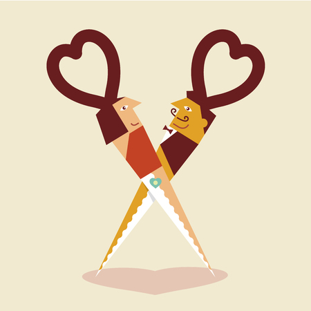 romantic sexy couple: Illustration of lovers dancing in scissors shape, Idea concept