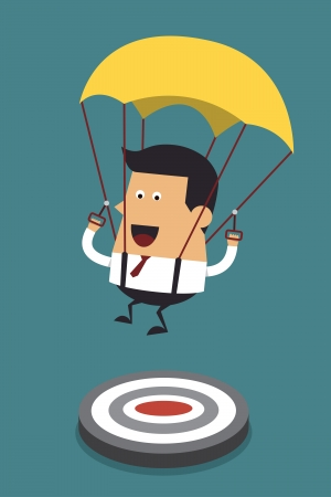 businessman jumping: Businessman focused on a target with parachute, Business concept Illustration