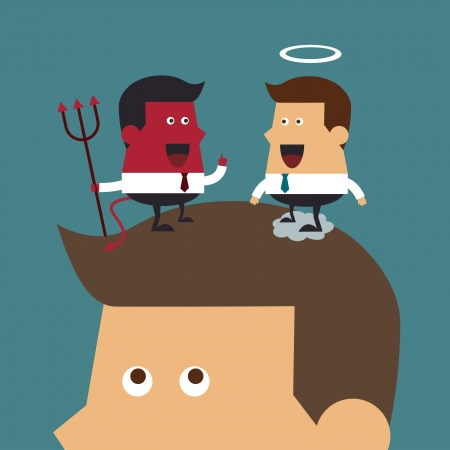 ethics and morals: Evil and angel over head  Illustration